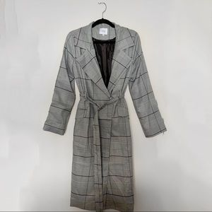 J.O.A. Belted Plaid Trench Coat, M